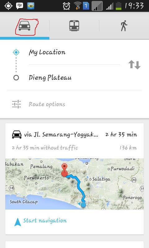 google maps route mode